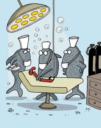 enfermera caricatura: Divertidos dibujos animados de peces como equipo m�dico que opera un gusano bajo el agua