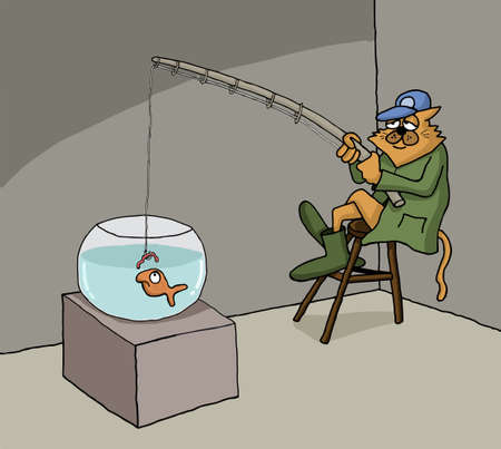 starving: Funny conceptual cartoon about cat fishing in a fish bowl