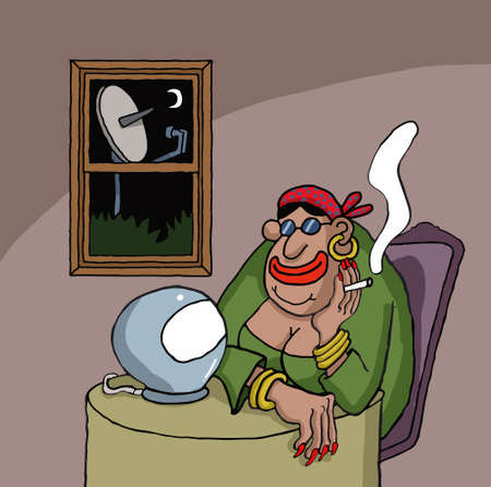 teller: Cartoon about a fortune teller