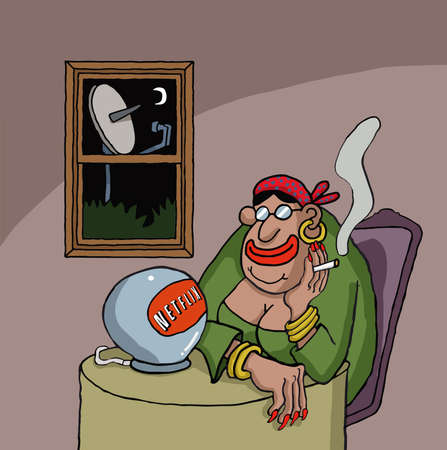 fortune: Cartoon about a fortune teller and technology