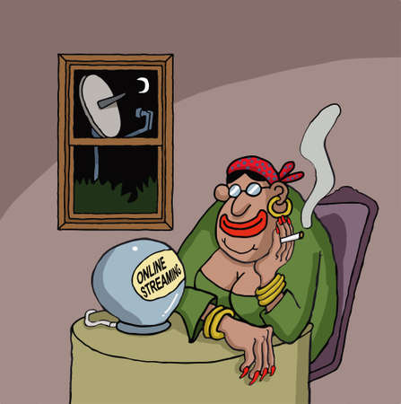 Cartoon about a fortune teller watching something online on her ball