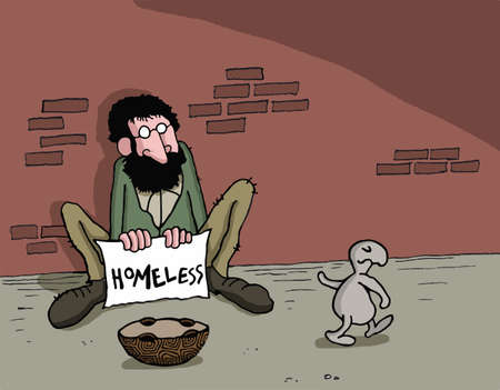 Conceptual cartoon about charity helping others