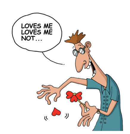 loves: Cartoon about a man who plays Loves me loves me not