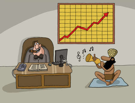 Conceptual cartoon about company profit with CEO and the Indian snake charmer Vector