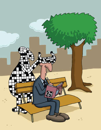puzzle people: Cartoon about crossword puzzles Illustration