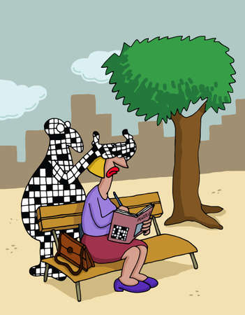 Cartoon about crossword puzzles Illustration