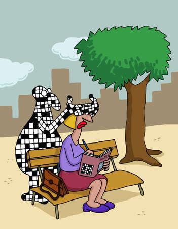 Cartoon about crossword puzzles Ilustracja