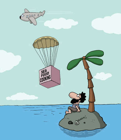 Funny cartoon about desert island and seafood cooking