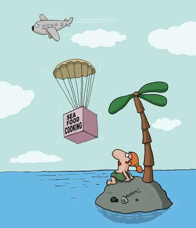 Vettoriale divertente cartone animato su isola deserta e la