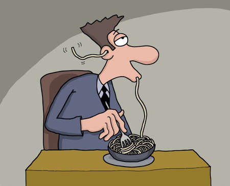 starving: Funny cartoon of a man eating spaghetti which comes out from his ear