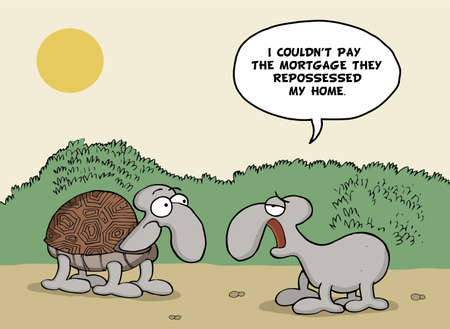 repossession: Funny cartoon about tortoises and mortgage