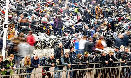 gather: Bikers gather in a seaside bike festival