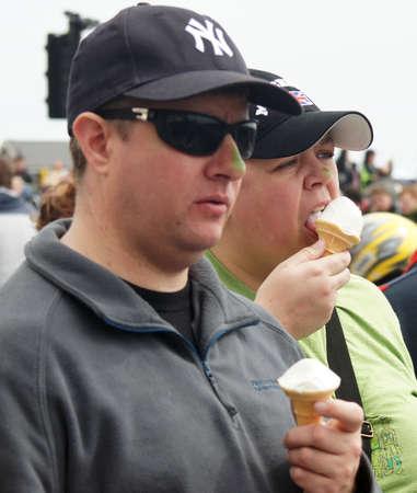 yankees: Couple eating ice cream Editorial