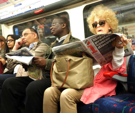 Commuters in London Underground
