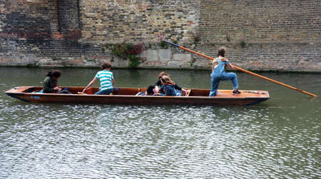 punt: Young punter punting in Cambridge