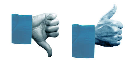 THUMBS DOWN: Human hand makes thumbs up and down gesture