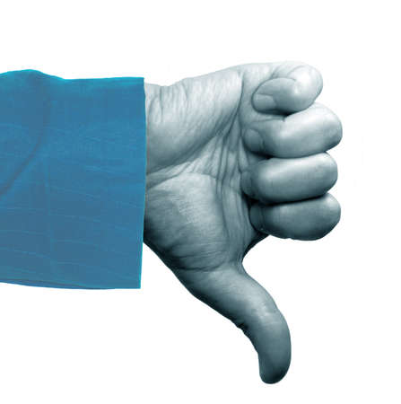 Human hand makes thumbs down in blue effect Banque d'images