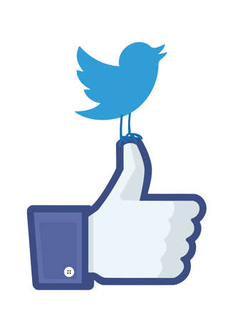 Twitters bird landed on top of Facebooks like finger