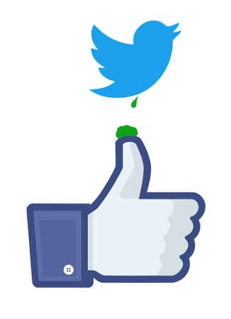 Twitter bird's dropping on Facebook's