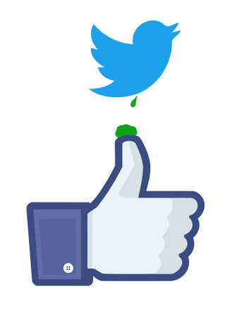 dropping: Twitter birds dropping on Facebooks like finger Editorial