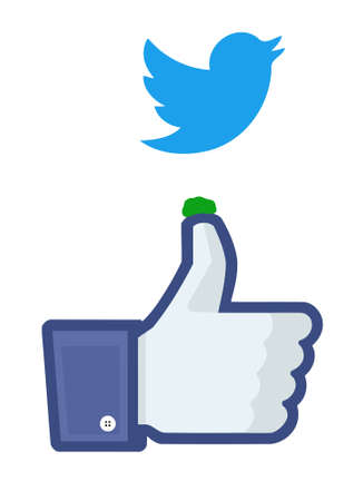 Twitter bird droppings on Facebooks like finger