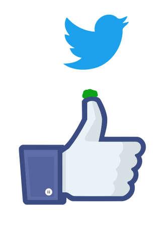 Twitter bird droppings on Facebooks like finger