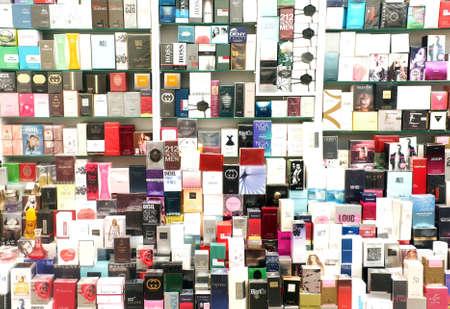 counterfeit: Counterfeit perfume brands on display