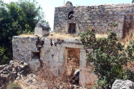 kayakoy: Ruins of abandoned stone house in Kayakoy, Turkey
