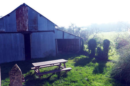 corrugation: Farm hut built by rusty panels