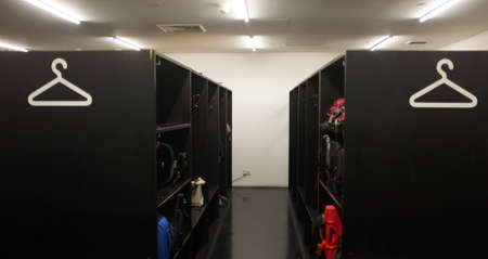 depositing: Cloakroom of Tate modern with objects for safekeeping