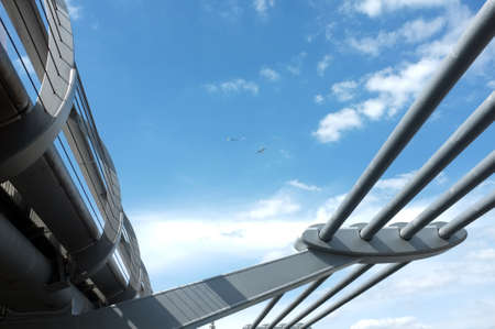 foot bridges: Blue sky and a bridge with a small kite and a plane in the air