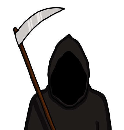 Dark faced grim reaper in cartoon