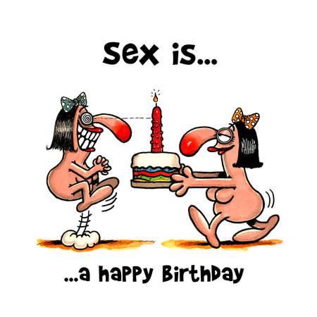 Woman give a birthday cake with dildo to her friend Zdjęcie Seryjne