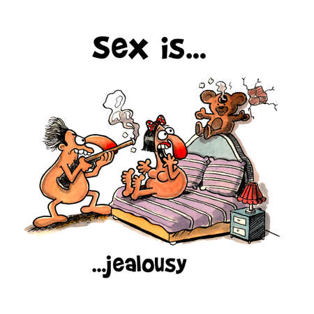 Jealous husband shot teddy bear in bed Zdjęcie Seryjne
