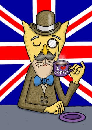 British gentlemen cat is enjoying his coffee Zdjęcie Seryjne