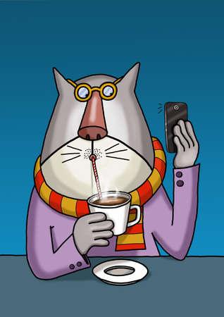 Cat is taking a selfie when drinking coffee