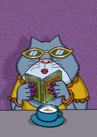 Female cat is reading a book about dogs Zdjęcie Seryjne