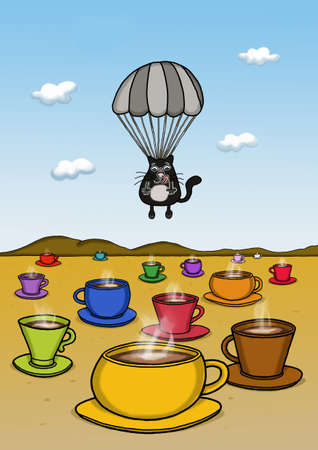 Cat is landing with a parachute  on many cups on desert