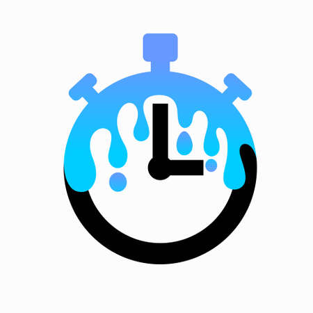 Timer logo with splashes water