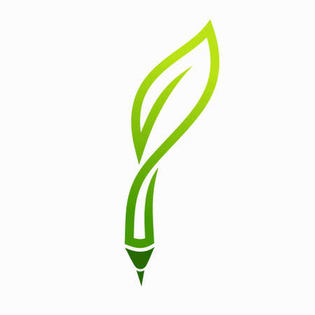 Vector pencil and leaf logo combination