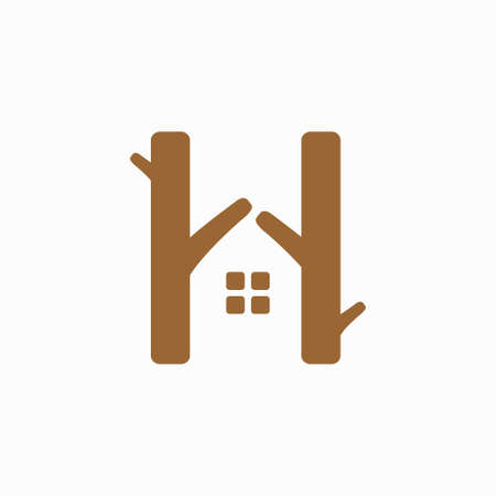 Wood forms house icon