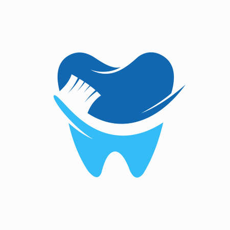 tooth logo forms a toothbrush