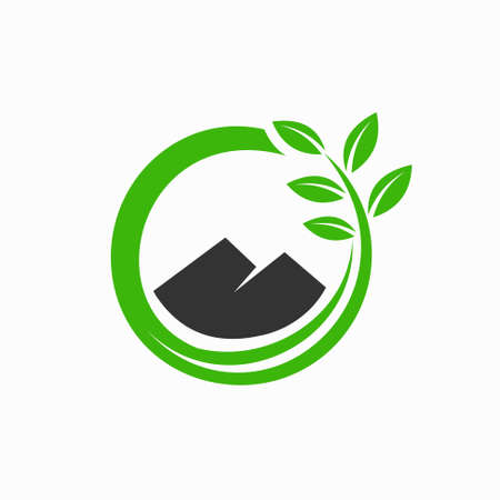 Mountain logo is accompanied by the concept of circular leaves