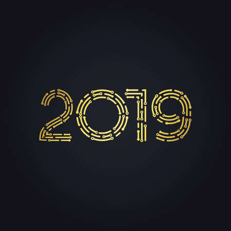 2019 golden New Year sign with golden glitter on black background. Vector New Year illustration. Happy New Year Banner with 2019 Numbers on Bright Background. Illusztráció