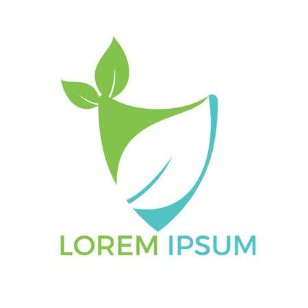Nature logo design. Green tropical leaves icon. Tree foliage logotype template. Logo