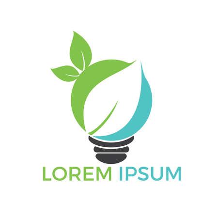 Bulb lamp leaf logo. nature idea innovation symbol.