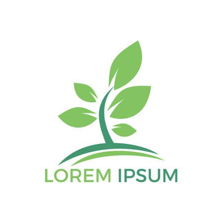 Tree logo design. Minimalist green tree logo symbol. Enviromental health and nature logo.