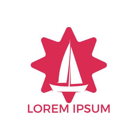 Yacht star shape logo design. Yachting club or yacht sport team vector logo design. Marine travel adventure or yachting championship or sailing trip tournament.