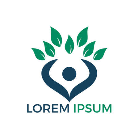 Tree human logo. Healthy people logo design. Human life logo icon.