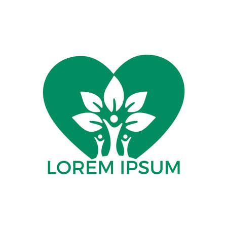 Diseño de logotipo de árbol genealógico y corazón. Logotipo del árbol de personas sanas. Plantilla de logotipo de vector de gente alegre.